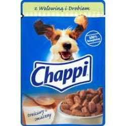 Chappi saszetka dla dorosłych psów wszystkich ras. 100g. Z wołowiną i drobiem.