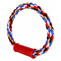 Zabawka SZNUR  do przeciągania okrągły. Dla psa. 100% bawełny. Z plastikowym uchwytem. TRIXIE.