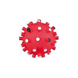 Zabawka piłka z wypustkami. Z winylu. Wydaje dźwięki. Różne kolory. Średnica 6cm.