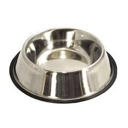 Miska metalowa ze stali nierdzewnej dla zwierząt. Pojemność 0,70L. Nie ślizga się dzięki gumowej podstawie.