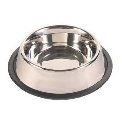 Miska metalowa ze stali nierdzewnej dla zwierząt. Pojemność 0,90L. Nie ślizga się dzięki gumowej podstawie.