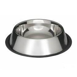 Miska metalowa ze stali nierdzewnej dla zwierząt. Pojemność 0,25L. Nie ślizga się dzięki gumowej podstawie.