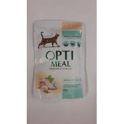 Saszetka dla kota OPTI MEAL 85g - Pyszna karma mokra z królikiem w białym sosie dla kociaka. Duża zawartość mięsa.