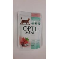 Saszetka dla kota OPTI MEAL 85g - Pyszna karma mokra z cielęciną w sosie żurawinowym dla kociaka. Duża zawartość mięsa.