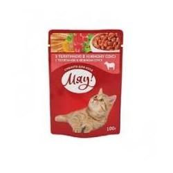 Saszetka dla kota MIAU 100g - Mokra karma z wołowiną w aksamitnym sosie.