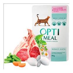 Saszetka dla kota OPTI MEAL 85g - Pyszna karma mokra z jagnięciną i warzywami w galaretce dla kociaka. Duża zawartość mięsa.