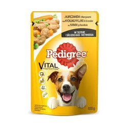 Pedigree saszetka dla dorosłych psów wszystkich ras. 100g. Z kurczakiem i warzywami w sosie.