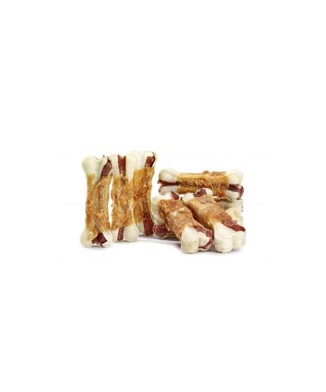 Kość prasowana wołowo-wieprzowa owinięta mięsem z kurczaka.