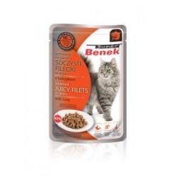 SOCZYSTE FILECIKI z tuńczykiem- saszetka BENEK dla kota 85g.