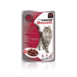 SOCZYSTE FILECIKI z wołowiną- saszetka BENEK dla kota 85g.