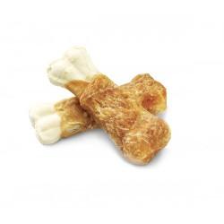 Kość wołowa dla psa zawinięta mięsem z kurczaka. Idealny przysmak.