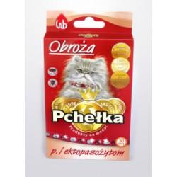 Obroża insektobójcza PCHEŁKA przeciw pchłom i kleszczom dla kota. 20-30cmcm. Czerwona ozdobna.
