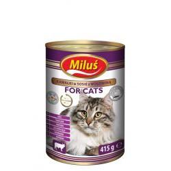 Puszka dla kota MILUŚ 415g - z wołowiną w sosie.