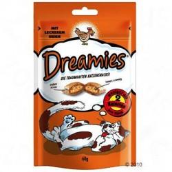Dreamies - pyszna przekąska dla twojego kota. Marzą one o chrupkich, wypełnionych pysznym, kremowym nadzieniem poduszeczkach.