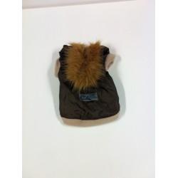 Ubranko dla psa z kapturem wkladane na przednie łapki z ortalionu, ocieplane, podbite polarem.