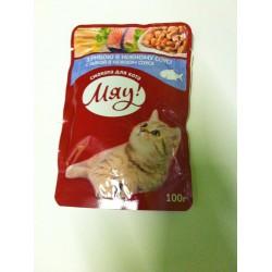 Saszetka dla kota MIAU 100g - Mokra karma z łososiem w aksamitnym sosie.