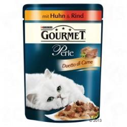 Saszetka dla kota GOURMET PERLE - mokra karma z delikatnym i kruchym mięsem z  kurczaka i wołowiny 85g