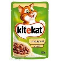 Saszetka dla kota KITEKAT 100g z cielęciną. Mokra karma.