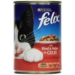 Puszka dla kota FELIX 400g z wołowiną i kurczakiem - mokra karma w galaretce.