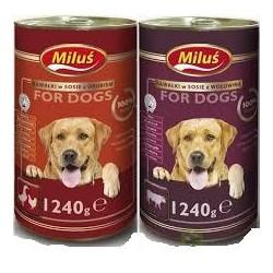 Puszka dla psa MILUŚ - mokra karma pełnoporcjowa  z cielęciną. Kawałki w sosie.