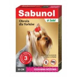 Obroża przeciw pchłom i kleszczom różowa - SABUNOL- dla yorków. Długość 35cm.