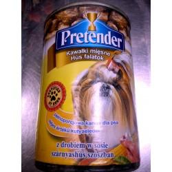 Pretender- pełnoporcjowa karma z drobiem dla dorosłych psów z kawałkami mięsnymi w sosie.