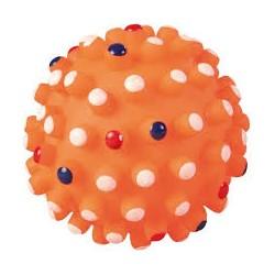 Zabawka piłka z wypustkami. Z winylu. Wydaje dźwięki. Różne kolory. Średnica 10cm.