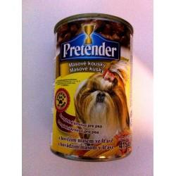 Pretender- pełnoporcjowa karma z wołowiną  dla dorosłych psów z kawałkami mięsnymi w sosie.