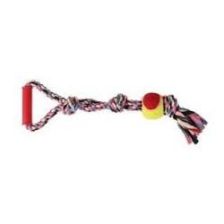 Zabawka sznur z piłką dla pieska. Gryzak bawełniany oczyszczający zęby. Długość 50cm.