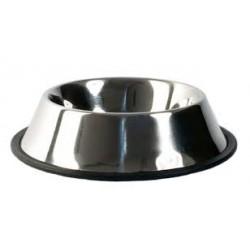 Miska metalowa ze stali nierdzewnej dla zwierząt. Pojemność 1,80L. Nie ślizga się dzięki gumowej podstawie.
