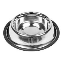 Miska metalowa ze stali nierdzewnej dla zwierząt. Pojemność 2,70L. Nie ślizga się dzięki gumowej podstawie.