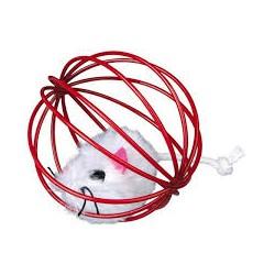 Zabawka dla kota myszka pluszowa w drucianej kuli. Z dzwonkiem.