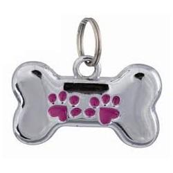 Adresówka w kształcie kostki dla zwierząt. Z metalu. Może być użyta do identyfikacji.