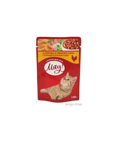 Saszetka dla kota MIAU 100g - Mokra karma z kurczakiem w aksamitnym sosie.