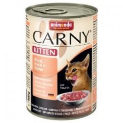 Animonda Carny KITTEN- karma mokra w puszce dla kotów. 400g. Z wołowiną, cielęciną i kurczakiem.