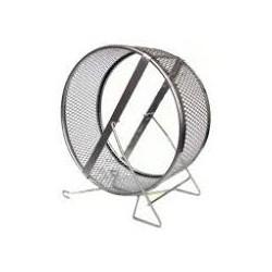 Kołowrotek metalowy dla gryzoni. Masywna karuzela na stojaku, wypełniona siatką. Średnica 12cm.