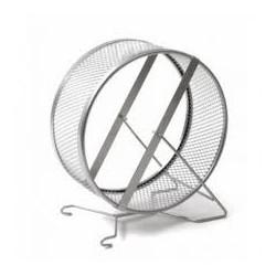 Kołowrotek metalowy dla gryzoni. Masywna karuzela na stojaku, wypełniona siatką. Średnica 25cm.