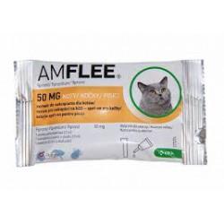 Krople przeciw pchłom i kleszczom AMFLEE dla kotów.