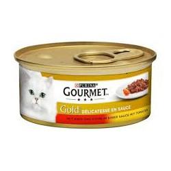 Gourmet Gold puszeczka dla kota 85g w kawałkach w sosie - mokra karma z kurczakiem i wołowiną. Super jakość, super smak.
