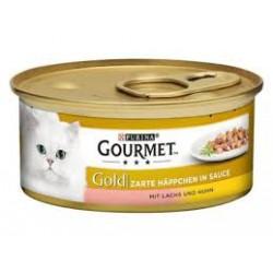 Gourmet Gold puszeczka dla kota 85g w kawałkach w sosie - mokra karma z łososiem i kurczakiem. Super jakość, super smak.