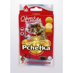 Obroża insektobójcza PCHEŁKA przeciw pchłom i kleszczom dla kota 30cm. Czerwona z dzwoneczkiem.