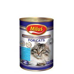 Puszka dla kota MILUŚ 415g - z łososiem i tuńczykiem w sosie.