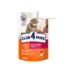 Club 4 Łapy- saszetka dla kota. Z cielęciną w delikatnym sosie. 100g.