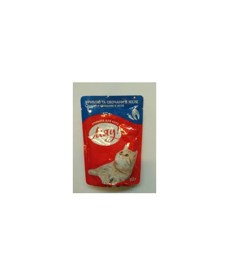 Saszetka dla kota MIAU 100g - Mokra karma z rybą i warzywami w galaretce. 80g.