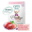 OptiMeal - bezzbożowa mokra karma dla psa.  Z cielęciną i kurczakiem w sosie. 85g.