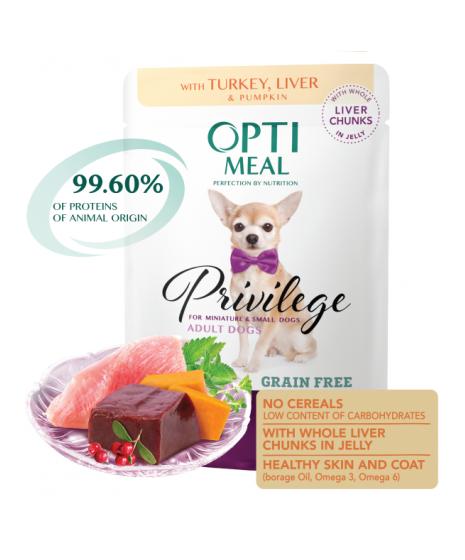OptiMeal -  bezzbożowa mokra karma dla psa.  Z indykiem, wątróbką i dynią w galaretce. 85g.