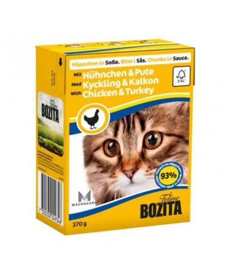 BOZITA karma mokra dla kota z kurczakiem i indykiem w sosie. 370g. Pakowana w kartonik.  92% mięsa.