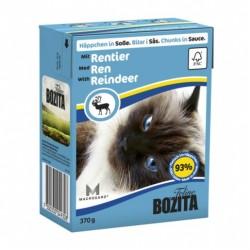 BOZITA karma mokra dla kota z reniferem w sosie. 370g. Pakowana w kartonik.  92% mięsa.