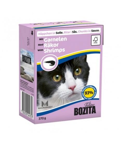 BOZITA karma mokra dla kota z krewetkami w sosie. 370g. Pakowana w kartonik.  92% mięsa.