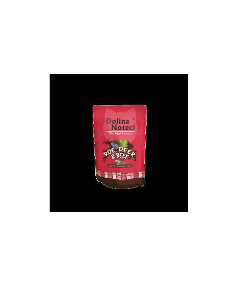 Dolina Noteci Superfood - karma bezzbożowa dla kota. Z sarną i wołowiną. Wspiera odporność. Z tauryną. 85g.